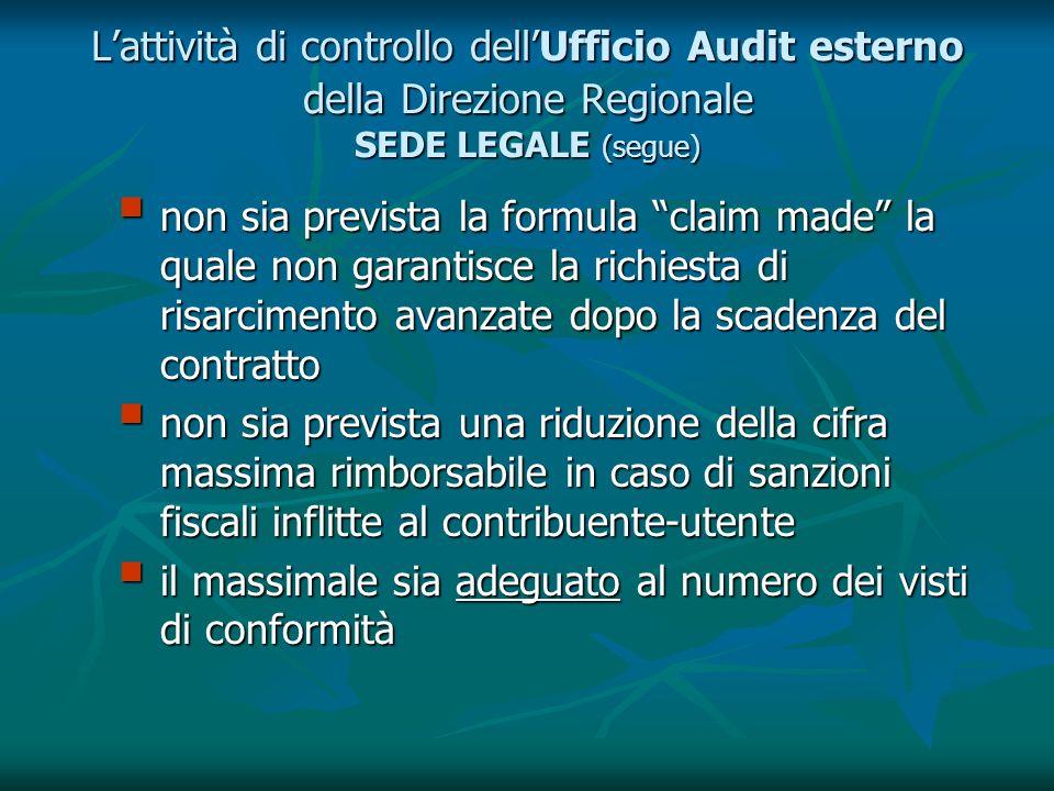 Lattività di controllo dellUfficio Audit esterno della Direzione Regionale SEDE LEGALE (segue) non sia prevista la formula claim made la quale non gar