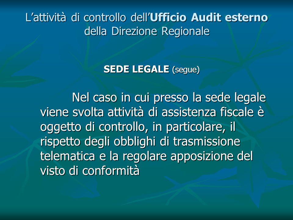 Lattività di controllo dellUfficio Audit esterno della Direzione Regionale SEDE LEGALE (segue) Nel caso in cui presso la sede legale viene svolta atti