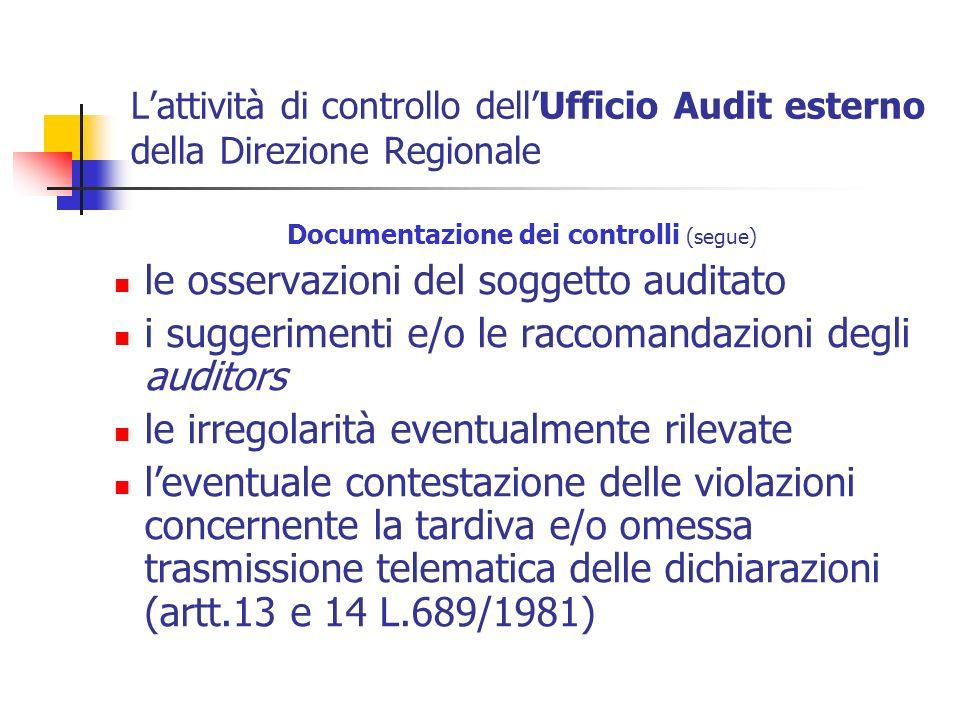 Lattività di controllo dellUfficio Audit esterno della Direzione Regionale Documentazione dei controlli (segue) le osservazioni del soggetto auditato