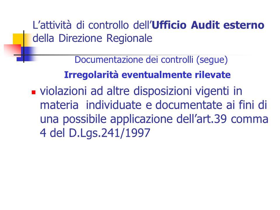 Lattività di controllo dellUfficio Audit esterno della Direzione Regionale Documentazione dei controlli (segue) Irregolarità eventualmente rilevate vi