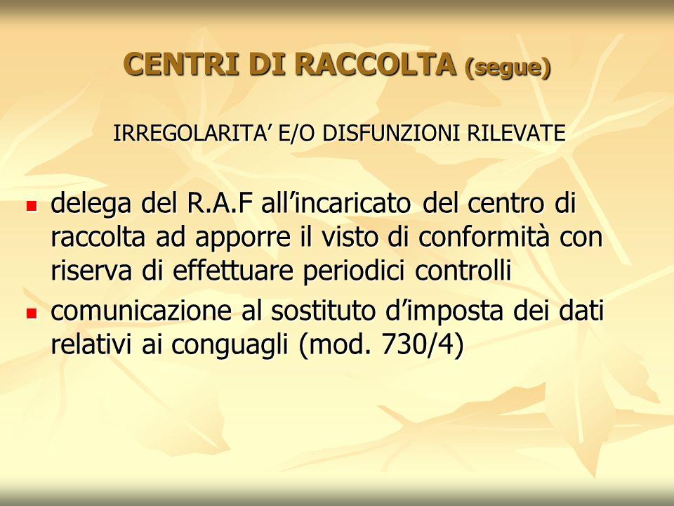 CENTRI DI RACCOLTA (segue) IRREGOLARITA E/O DISFUNZIONI RILEVATE delega del R.A.F allincaricato del centro di raccolta ad apporre il visto di conformi