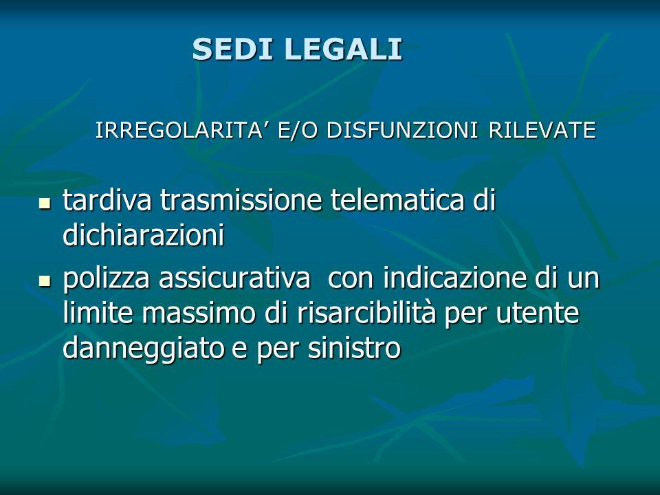 SEDI LEGALI IRREGOLARITA E/O DISFUNZIONI RILEVATE tardiva trasmissione telematica di dichiarazioni tardiva trasmissione telematica di dichiarazioni po