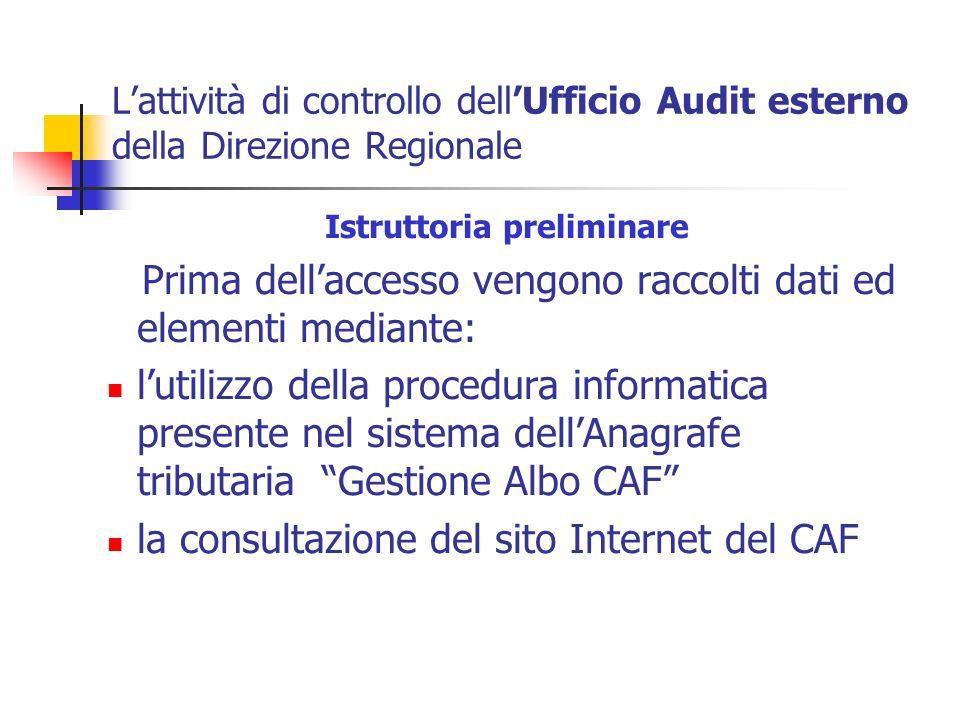 Lattività di controllo dellUfficio Audit esterno della Direzione Regionale Istruttoria preliminare Prima dellaccesso vengono raccolti dati ed elementi