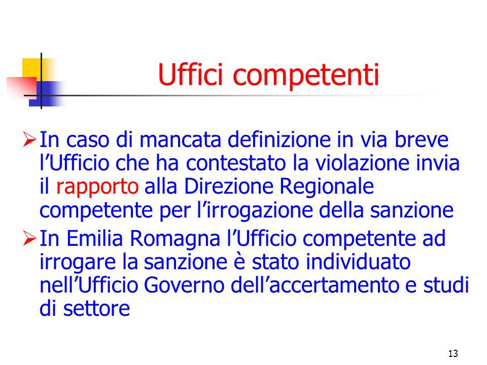 13 Uffici competenti In caso di mancata definizione in via breve lUfficio che ha contestato la violazione invia il rapporto alla Direzione Regionale c