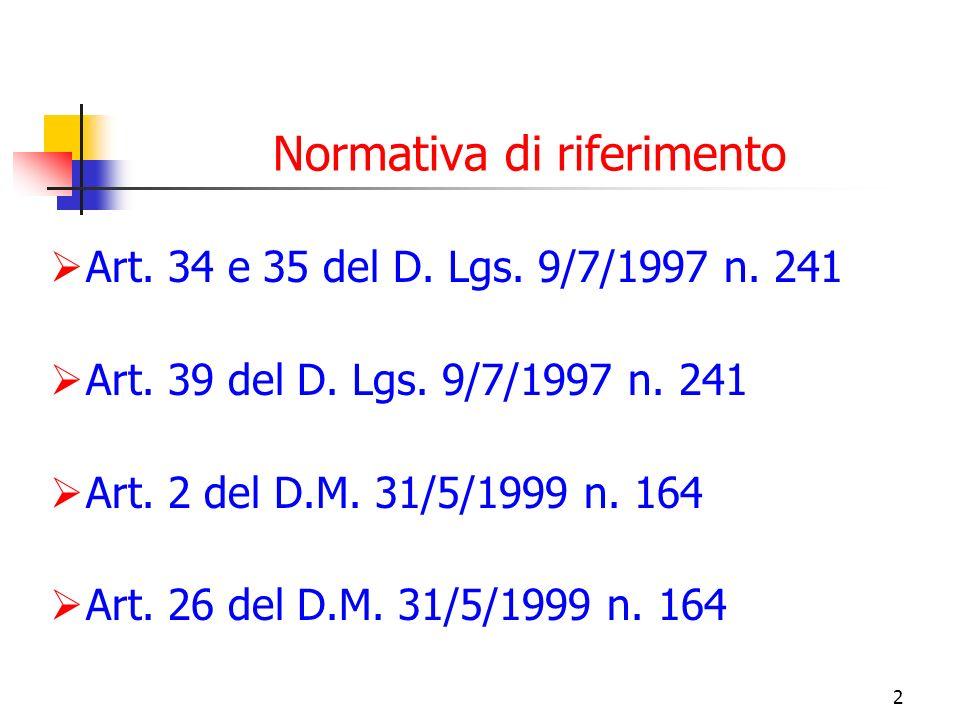2 Normativa di riferimento Art. 34 e 35 del D. Lgs. 9/7/1997 n. 241 Art. 39 del D. Lgs. 9/7/1997 n. 241 Art. 2 del D.M. 31/5/1999 n. 164 Art. 26 del D