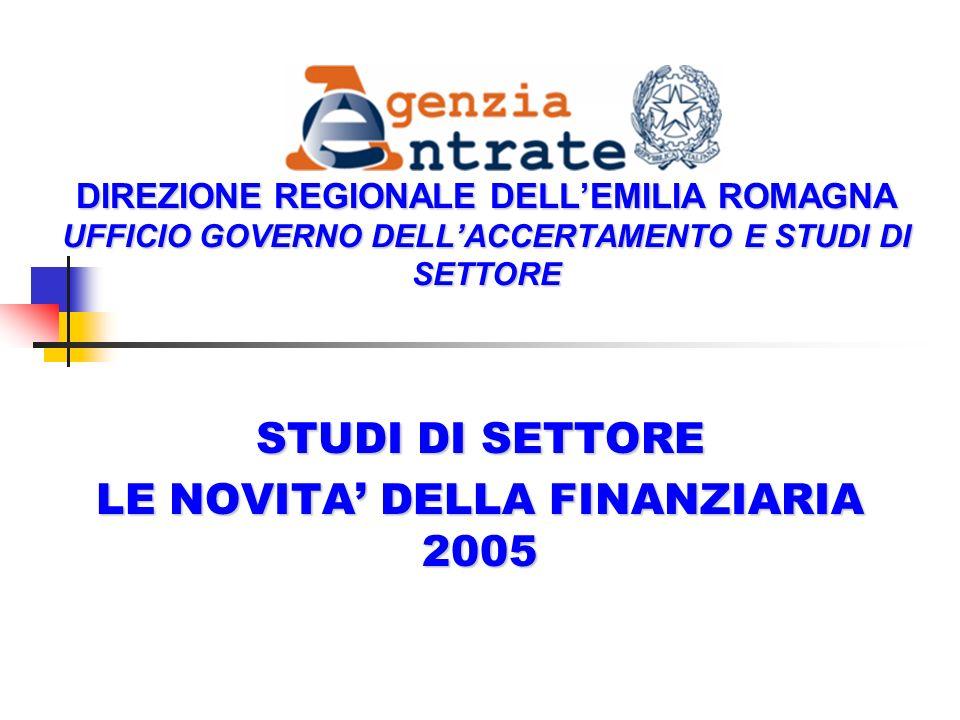 DIREZIONE REGIONALE DELLEMILIA ROMAGNA UFFICIO GOVERNO DELLACCERTAMENTO E STUDI DI SETTORE STUDI DI SETTORE LE NOVITA DELLA FINANZIARIA 2005