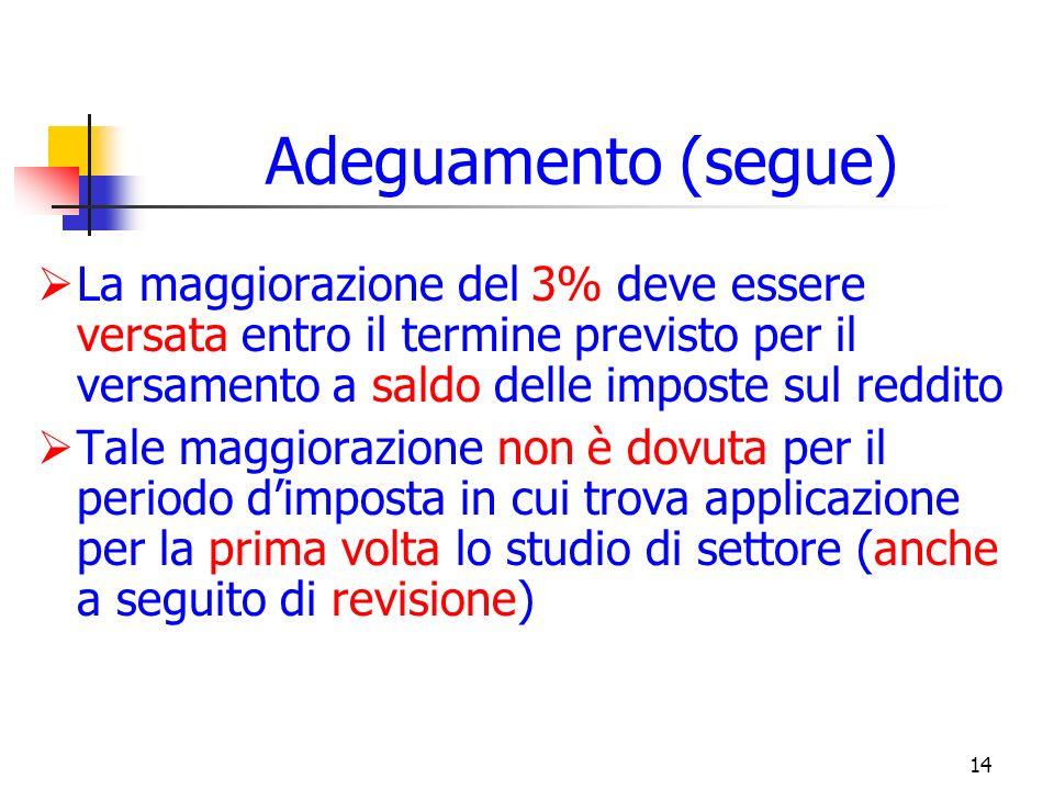 14 Adeguamento (segue) La maggiorazione del 3% deve essere versata entro il termine previsto per il versamento a saldo delle imposte sul reddito Tale maggiorazione non è dovuta per il periodo dimposta in cui trova applicazione per la prima volta lo studio di settore (anche a seguito di revisione)