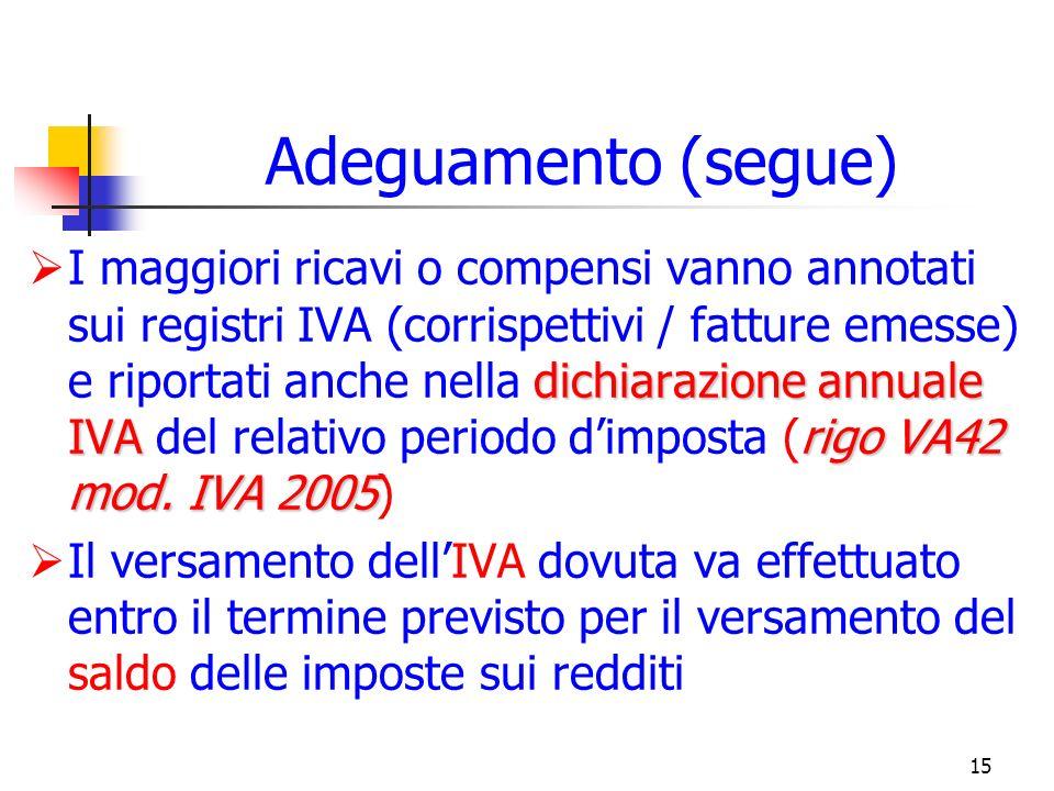 15 Adeguamento (segue) dichiarazione annuale IVArigo VA42 mod.