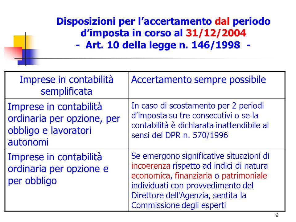 10 Nuove disposizioni per laccertamento Art.1, c.