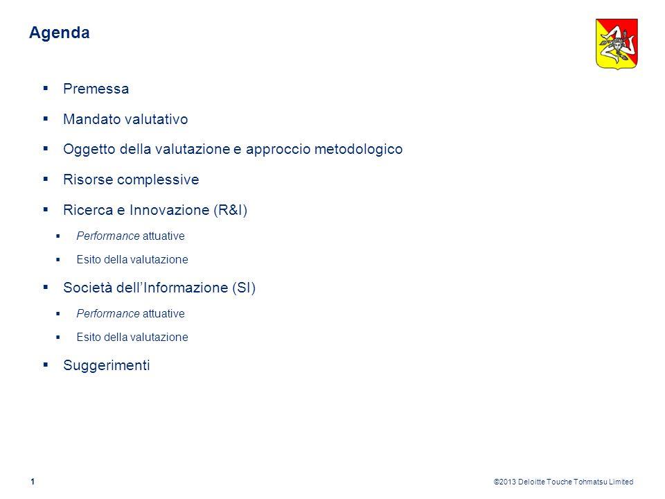 ©2013 Deloitte Touche Tohmatsu Limited Agenda 1 Premessa Mandato valutativo Oggetto della valutazione e approccio metodologico Risorse complessive Ricerca e Innovazione (R&I) Performance attuative Esito della valutazione Società dellInformazione (SI) Performance attuative Esito della valutazione Suggerimenti