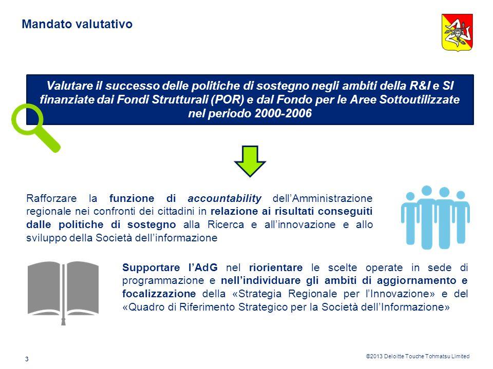 ©2013 Deloitte Touche Tohmatsu Limited Premessa 2 Il presente documento ha lobiettivo di Descrivere il mandato valutativo assegnato, loggetto della va