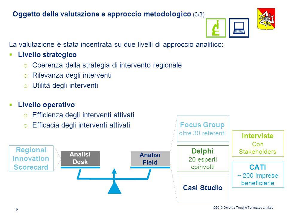 ©2013 Deloitte Touche Tohmatsu Limited 5 Oggetto della valutazione e approccio metodologico (2/3) RICERCA E INNOVAZIONE I SOCIETÀ DELL INFORMAZIONE II