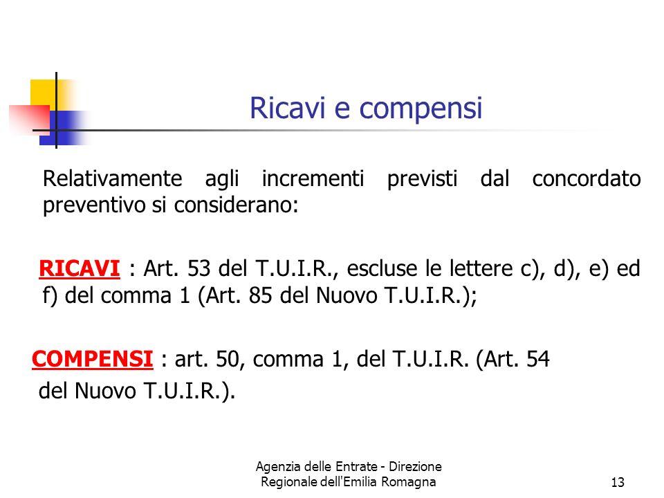 Agenzia delle Entrate - Direzione Regionale dell Emilia Romagna13 Ricavi e compensi Relativamente agli incrementi previsti dal concordato preventivo si considerano: RICAVI : Art.