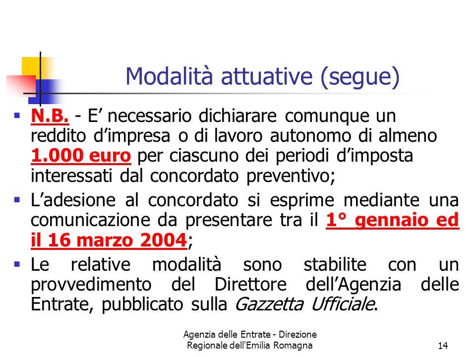 Agenzia delle Entrate - Direzione Regionale dell'Emilia Romagna14 Modalità attuative (segue) N.B. - E necessario dichiarare comunque un reddito dimpre