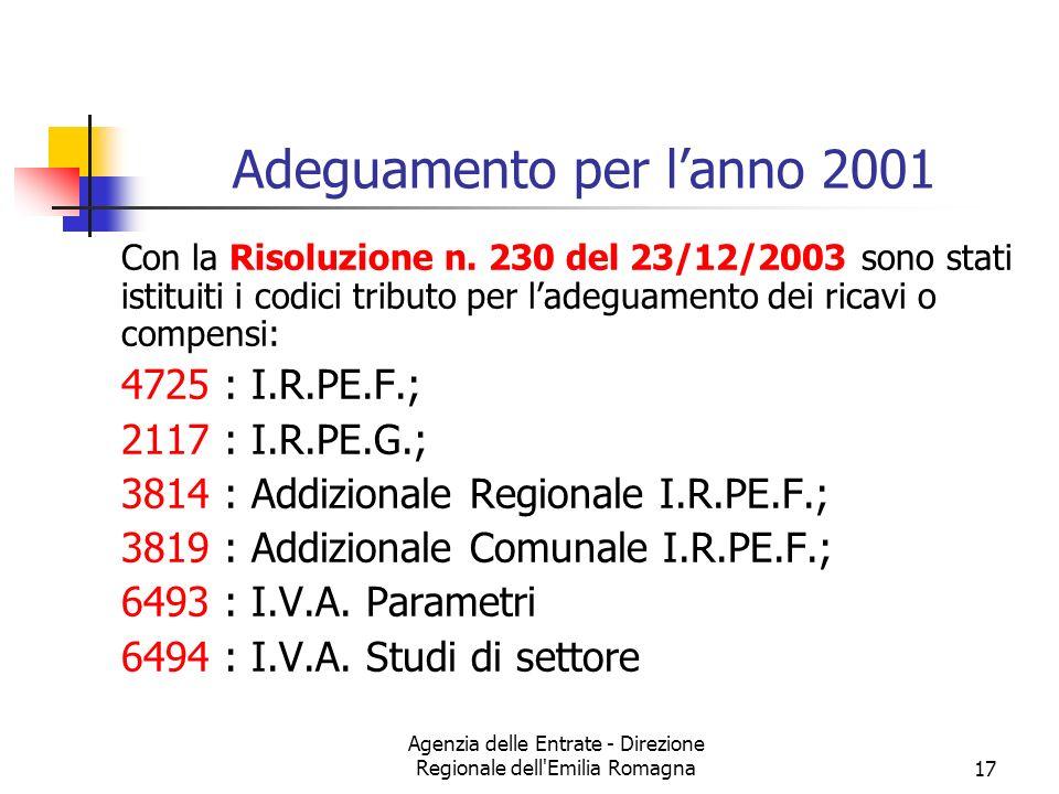 Agenzia delle Entrate - Direzione Regionale dell'Emilia Romagna17 Adeguamento per lanno 2001 Con la Risoluzione n. 230 del 23/12/2003 sono stati istit