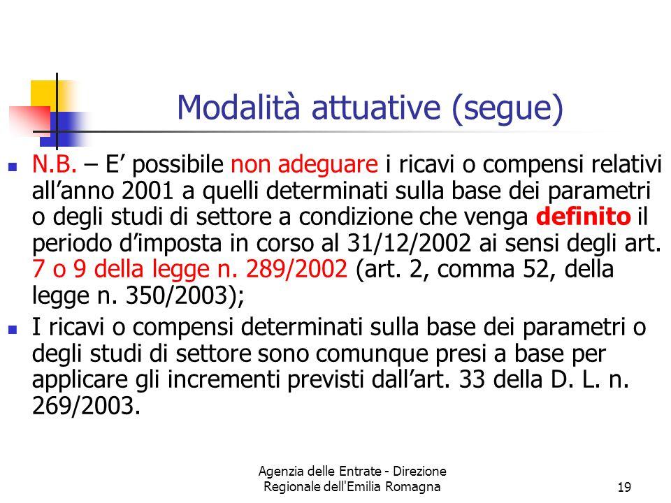 Agenzia delle Entrate - Direzione Regionale dell'Emilia Romagna19 Modalità attuative (segue) N.B. – E possibile non adeguare i ricavi o compensi relat