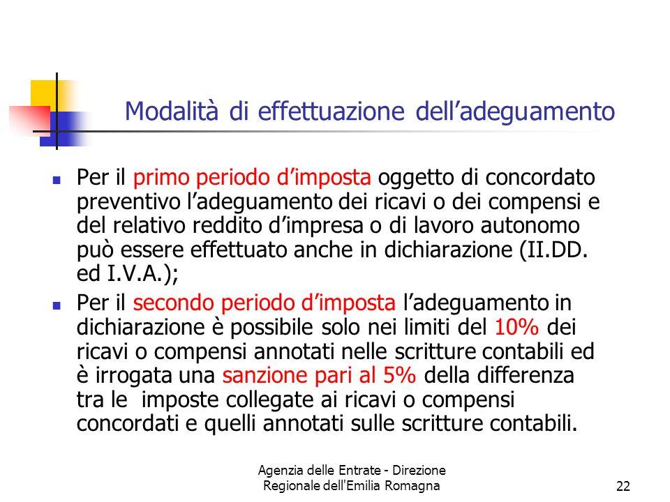 Agenzia delle Entrate - Direzione Regionale dell Emilia Romagna22 Modalità di effettuazione delladeguamento Per il primo periodo dimposta oggetto di concordato preventivo ladeguamento dei ricavi o dei compensi e del relativo reddito dimpresa o di lavoro autonomo può essere effettuato anche in dichiarazione (II.DD.