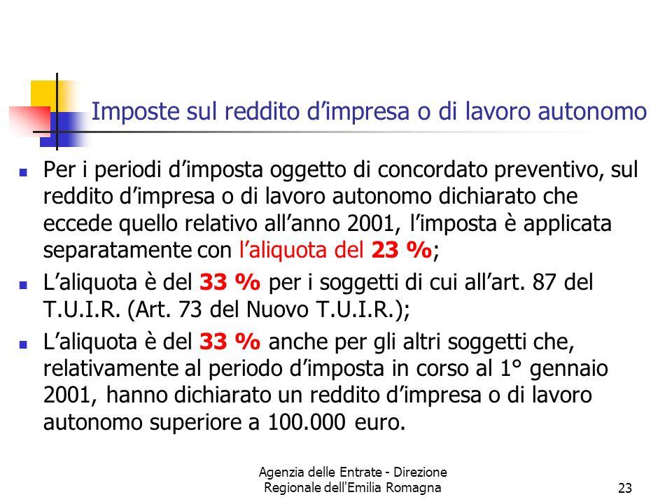 Agenzia delle Entrate - Direzione Regionale dell'Emilia Romagna23 Imposte sul reddito dimpresa o di lavoro autonomo Per i periodi dimposta oggetto di
