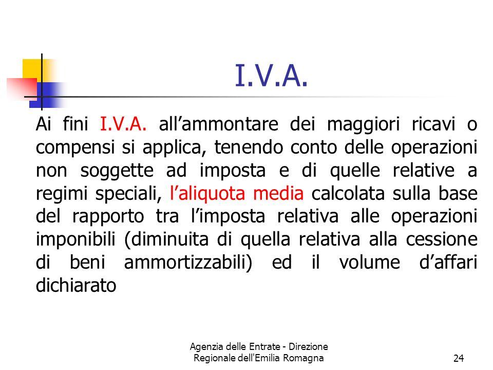 Agenzia delle Entrate - Direzione Regionale dell'Emilia Romagna24 I.V.A. Ai fini I.V.A. allammontare dei maggiori ricavi o compensi si applica, tenend