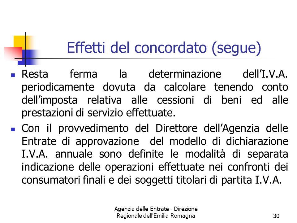 Agenzia delle Entrate - Direzione Regionale dell'Emilia Romagna30 Effetti del concordato (segue) Resta ferma la determinazione dellI.V.A. periodicamen