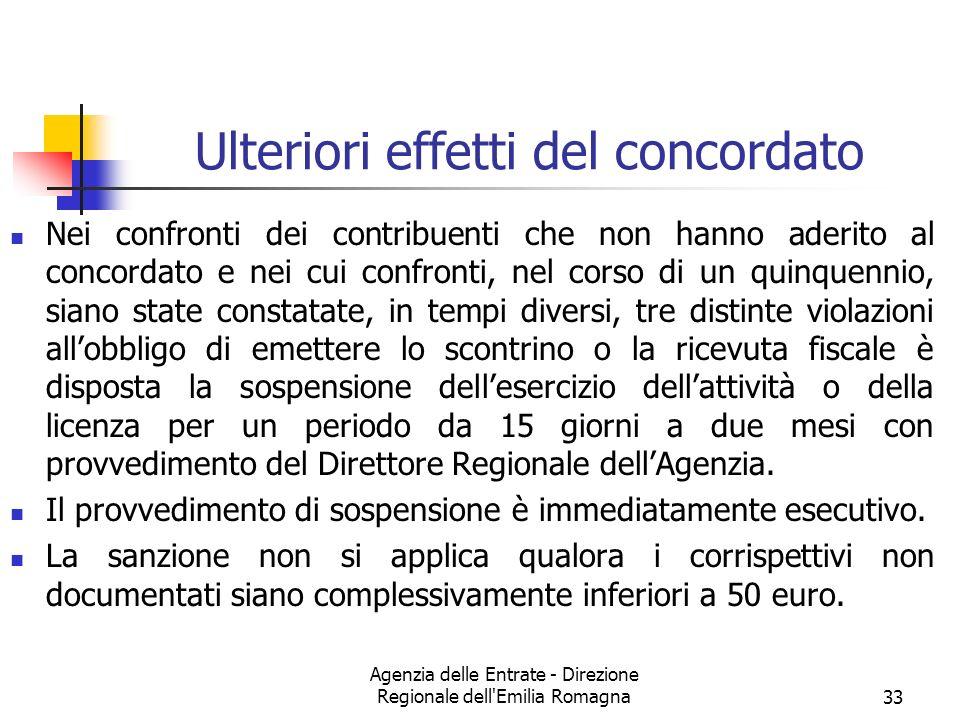 Agenzia delle Entrate - Direzione Regionale dell'Emilia Romagna33 Ulteriori effetti del concordato Nei confronti dei contribuenti che non hanno aderit