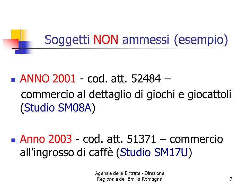 Agenzia delle Entrate - Direzione Regionale dell'Emilia Romagna7 Soggetti NON ammessi (esempio) ANNO 2001 - cod. att. 52484 – commercio al dettaglio d