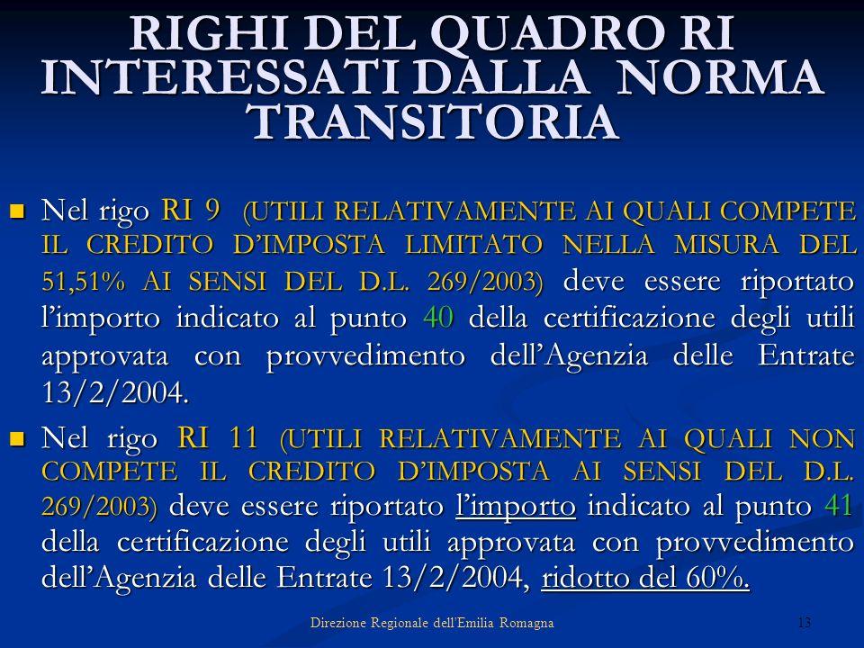 13Direzione Regionale dell'Emilia Romagna RIGHI DEL QUADRO RI INTERESSATI DALLA NORMA TRANSITORIA Nel rigo RI 9 (UTILI RELATIVAMENTE AI QUALI COMPETE