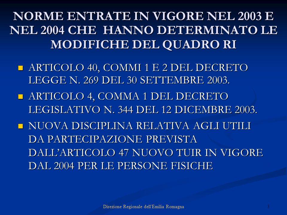 3Direzione Regionale dell'Emilia Romagna NORME ENTRATE IN VIGORE NEL 2003 E NEL 2004 CHE HANNO DETERMINATO LE MODIFICHE DEL QUADRO RI ARTICOLO 40, COM