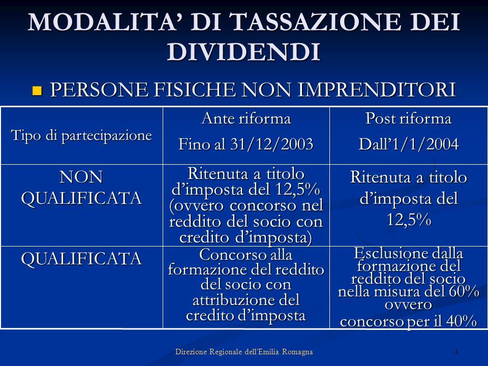 4Direzione Regionale dell'Emilia Romagna MODALITA DI TASSAZIONE DEI DIVIDENDI PERSONE FISICHE NON IMPRENDITORI PERSONE FISICHE NON IMPRENDITORI Esclus