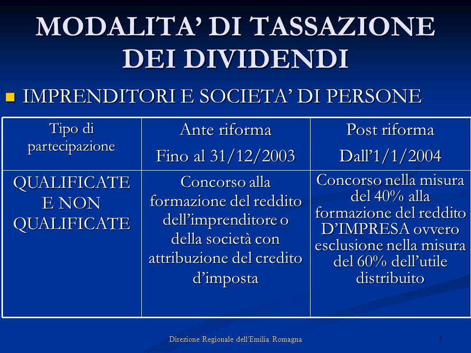 5Direzione Regionale dell'Emilia Romagna MODALITA DI TASSAZIONE DEI DIVIDENDI IMPRENDITORI E SOCIETA DI PERSONE IMPRENDITORI E SOCIETA DI PERSONE Conc