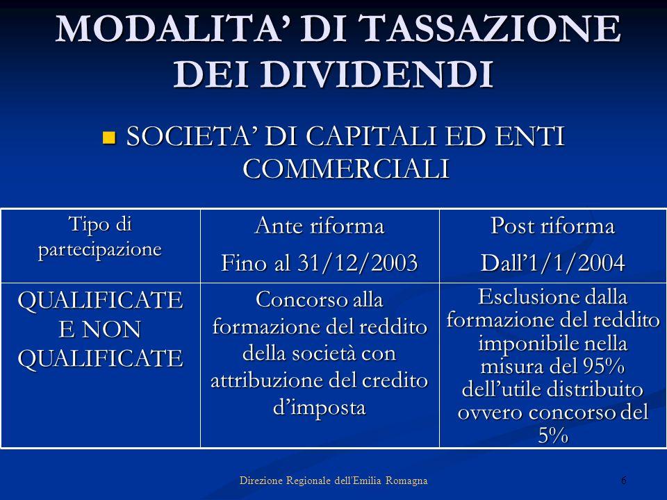 6Direzione Regionale dell'Emilia Romagna MODALITA DI TASSAZIONE DEI DIVIDENDI MODALITA DI TASSAZIONE DEI DIVIDENDI SOCIETA DI CAPITALI ED ENTI COMMERC