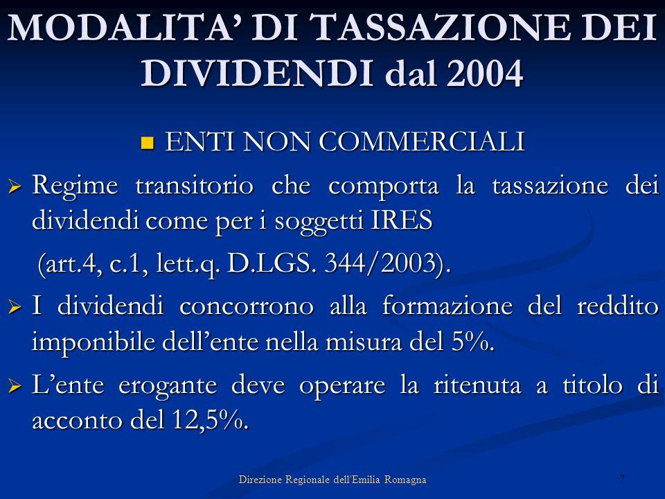 7Direzione Regionale dell'Emilia Romagna MODALITA DI TASSAZIONE DEI DIVIDENDI dal 2004 ENTI NON COMMERCIALI ENTI NON COMMERCIALI Regime transitorio ch