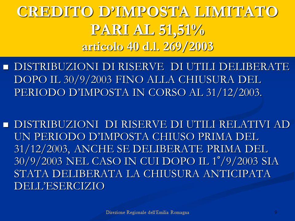 9Direzione Regionale dell'Emilia Romagna CREDITO DIMPOSTA LIMITATO PARI AL 51,51% articolo 40 d.l. 269/2003 DISTRIBUZIONI DI RISERVE DI UTILI DELIBERA