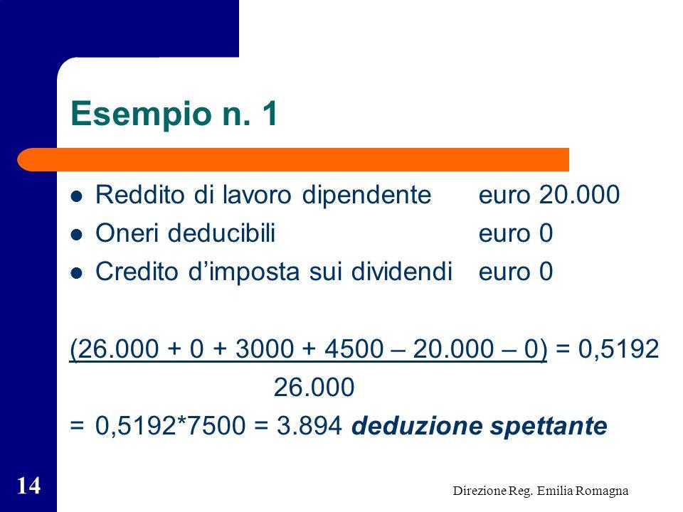 Direzione Reg. Emilia Romagna 14 Esempio n.