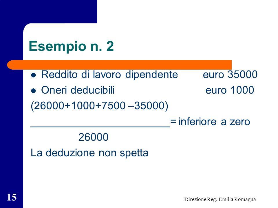 Direzione Reg. Emilia Romagna 15 Esempio n.