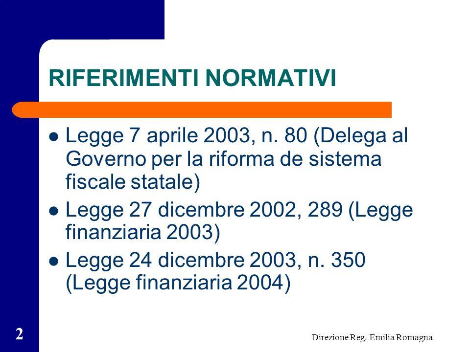 Direzione Reg. Emilia Romagna 2 RIFERIMENTI NORMATIVI Legge 7 aprile 2003, n.