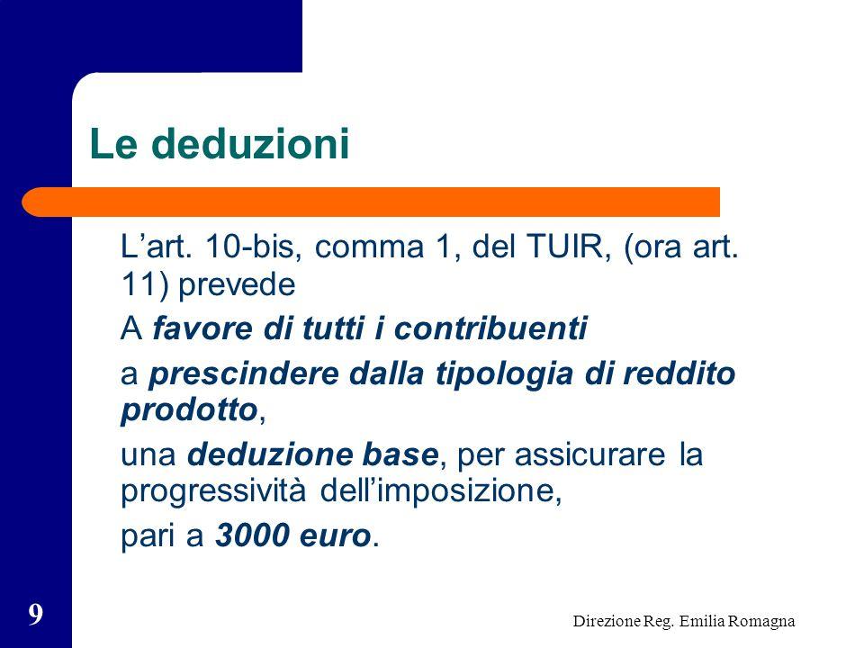 Direzione Reg. Emilia Romagna 9 Le deduzioni Lart.