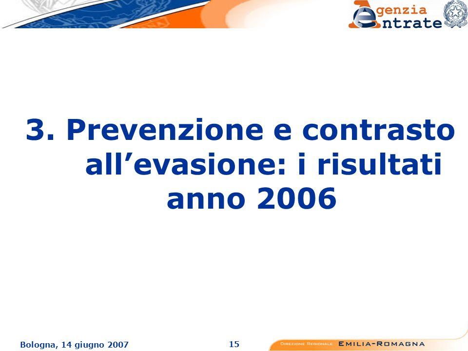 15 Bologna, 14 giugno 2007 3. Prevenzione e contrasto allevasione: i risultati anno 2006