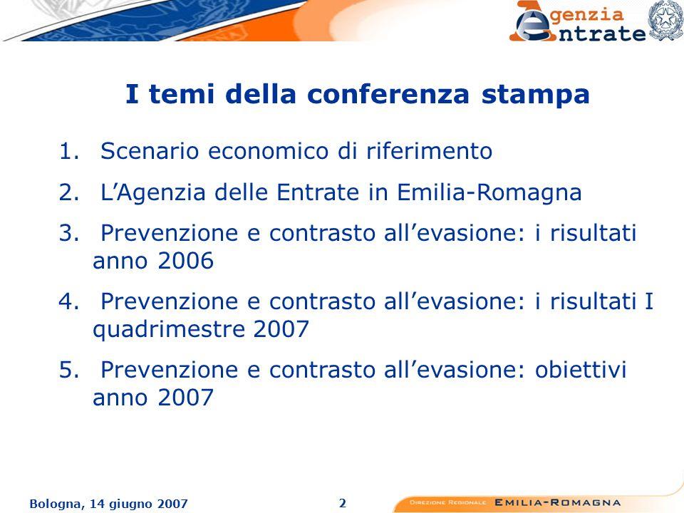 2 Bologna, 14 giugno 2007 I temi della conferenza stampa 1.