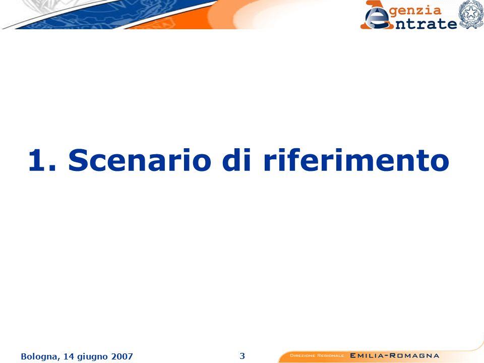 3 Bologna, 14 giugno 2007 1. Scenario di riferimento