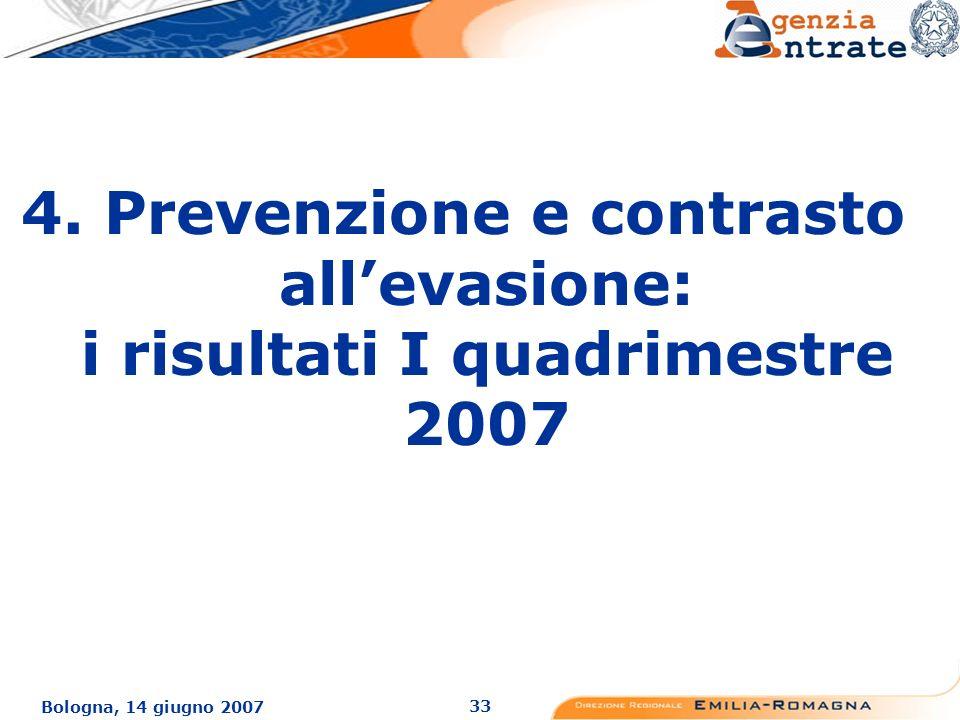 33 Bologna, 14 giugno 2007 4. Prevenzione e contrasto allevasione: i risultati I quadrimestre 2007