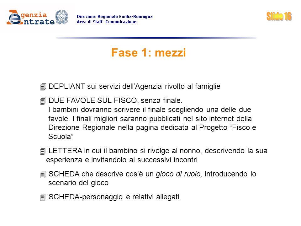 Fase 1: mezzi DEPLIANT sui servizi dellAgenzia rivolto al famiglie DUE FAVOLE SUL FISCO, senza finale. I bambini dovranno scrivere il finale scegliend