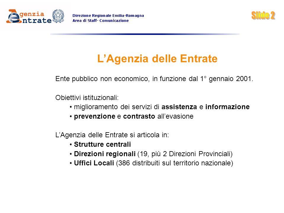 LAgenzia delle Entrate Ente pubblico non economico, in funzione dal 1° gennaio 2001. Obiettivi istituzionali: miglioramento dei servizi di assistenza