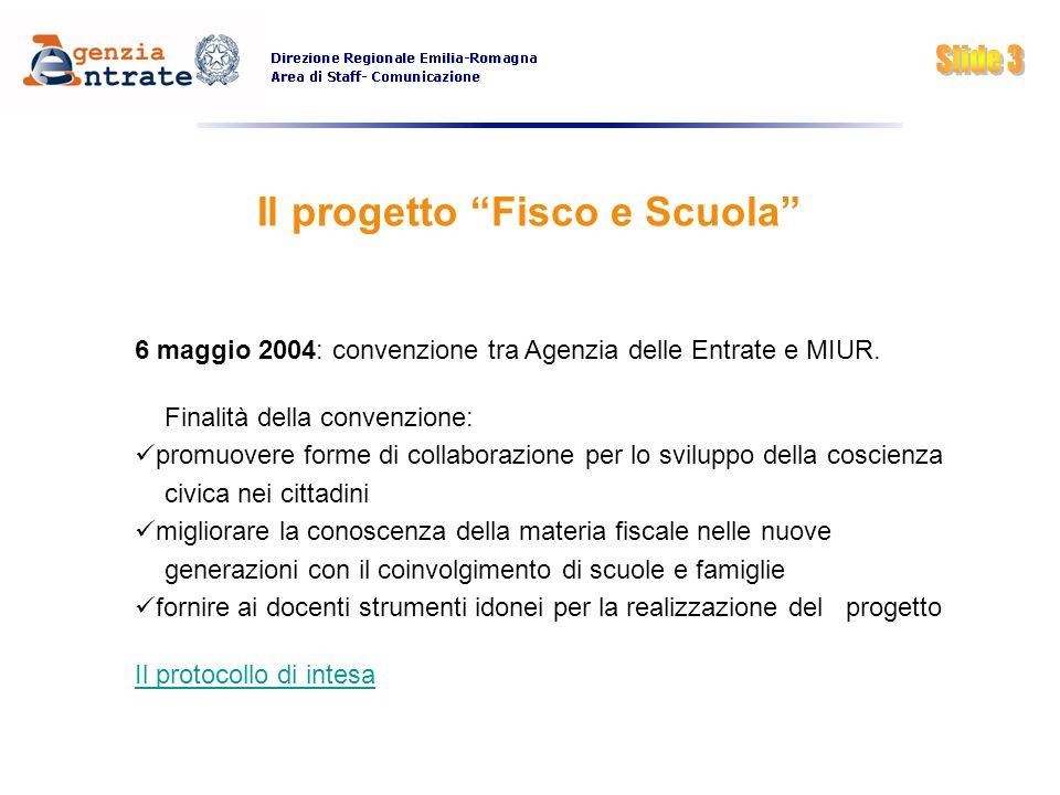 Il progetto Fisco e Scuola 6 maggio 2004: convenzione tra Agenzia delle Entrate e MIUR. Finalità della convenzione: promuovere forme di collaborazione