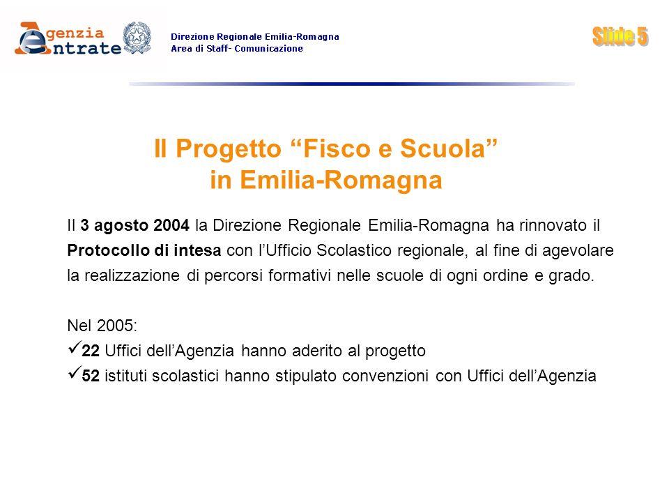 Il Progetto Fisco e Scuola in Emilia-Romagna Il 3 agosto 2004 la Direzione Regionale Emilia-Romagna ha rinnovato il Protocollo di intesa con lUfficio