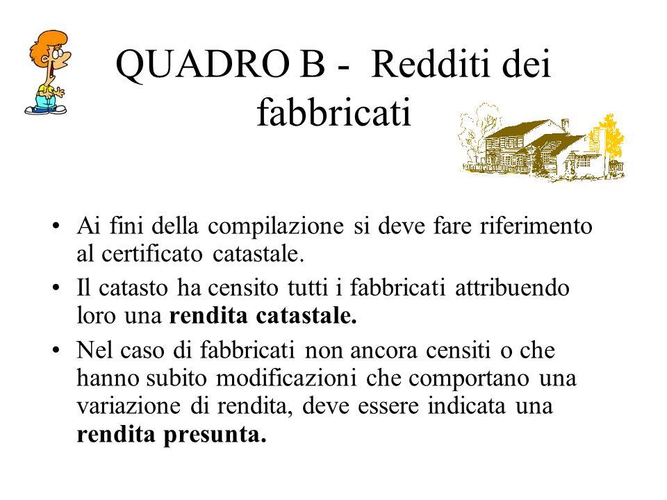 QUADRO B - Redditi dei fabbricati Ai fini della compilazione si deve fare riferimento al certificato catastale.