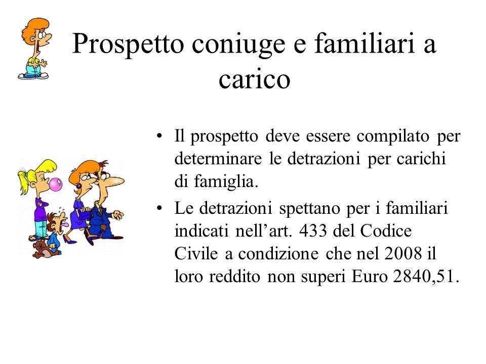Prospetto coniuge e familiari a carico Il prospetto deve essere compilato per determinare le detrazioni per carichi di famiglia.