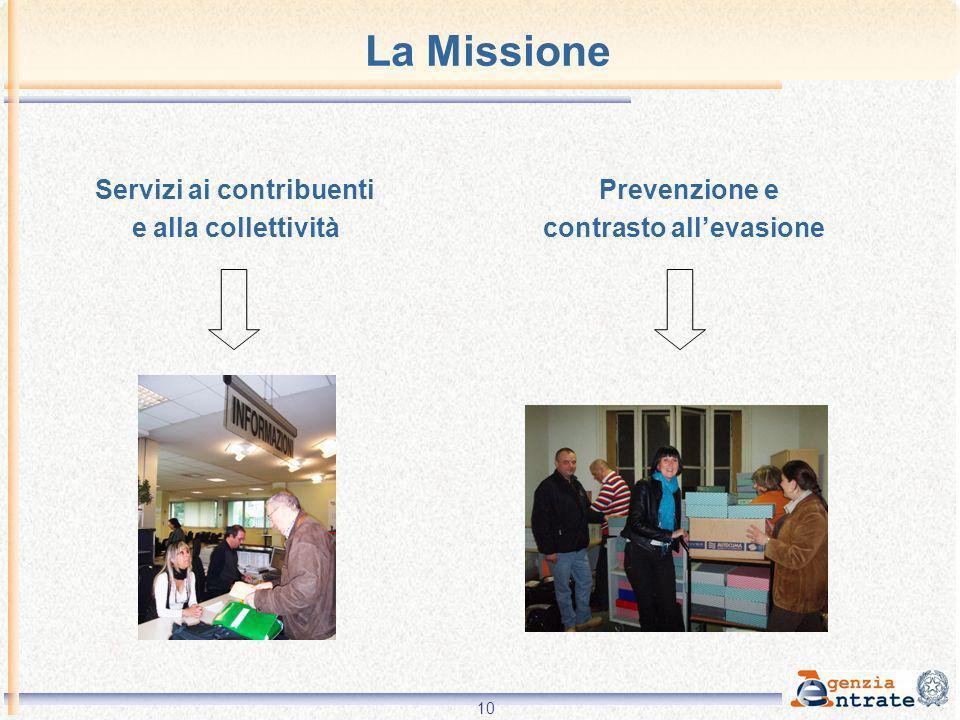 10 La Missione Servizi ai contribuenti Prevenzione e e alla collettività contrasto allevasione