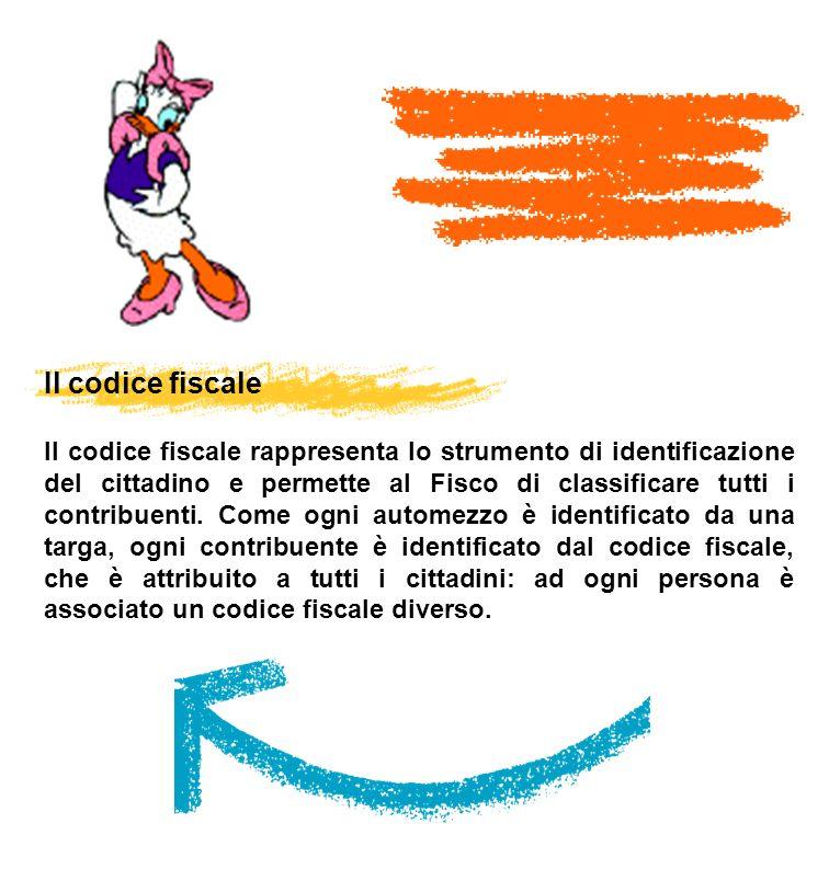 Il codice fiscale Il codice fiscale rappresenta lo strumento di identificazione del cittadino e permette al Fisco di classificare tutti i contribuenti