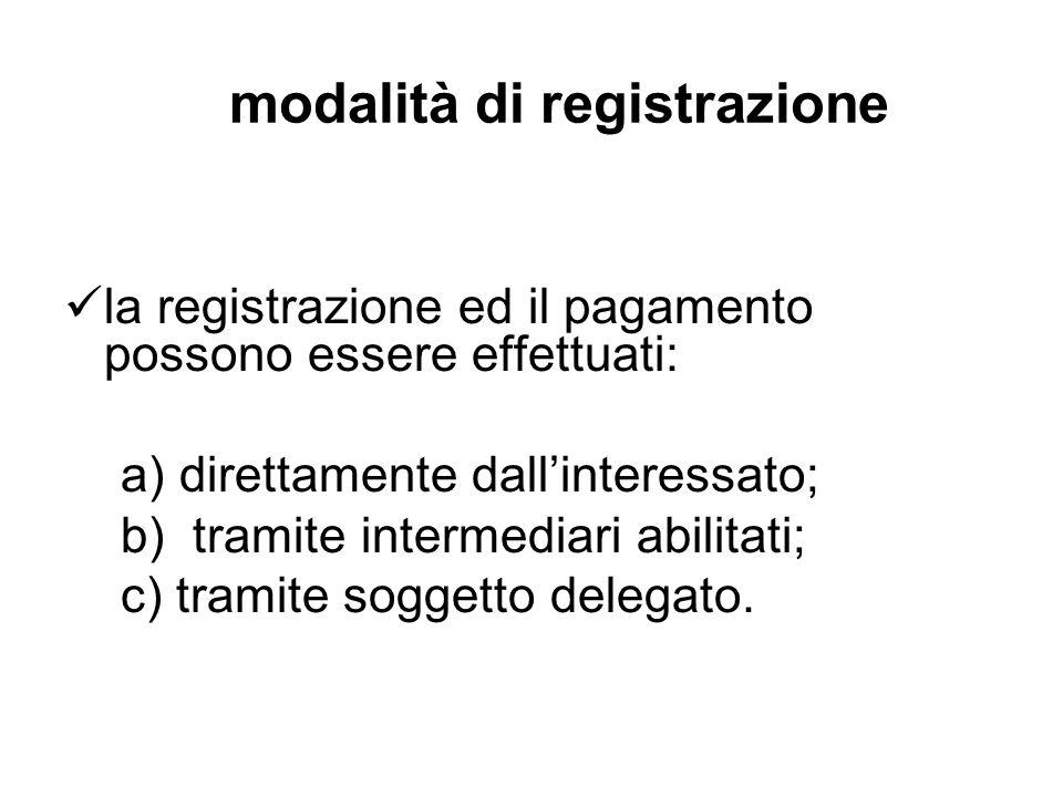modalità di registrazione la registrazione ed il pagamento possono essere effettuati: a) direttamente dallinteressato; b) tramite intermediari abilita